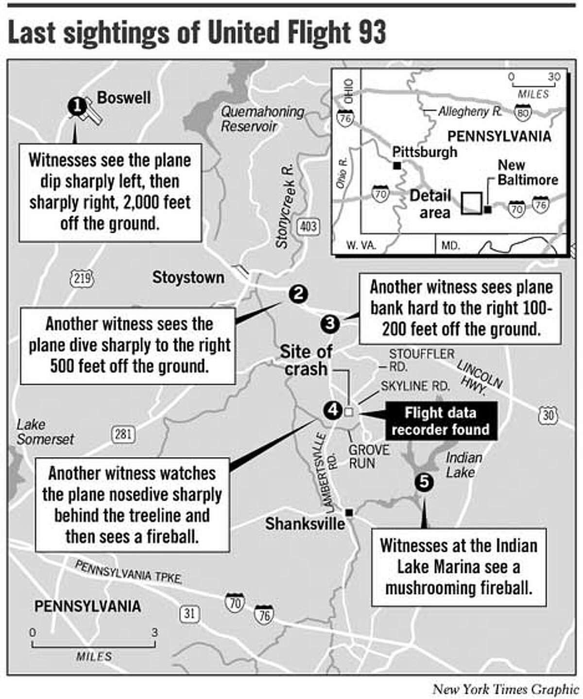 Last Sightings of United Flight 93. New York Times Graphic