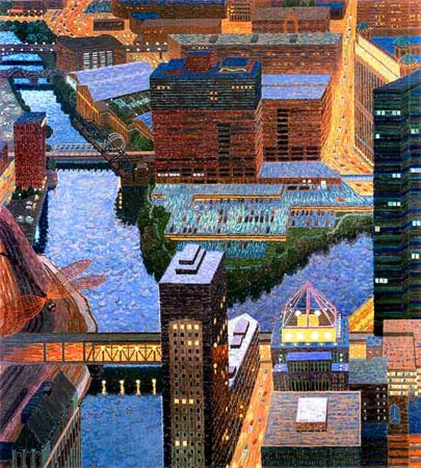 Chicago River Fork II by Yvonne Jacquette. HANDOUT.