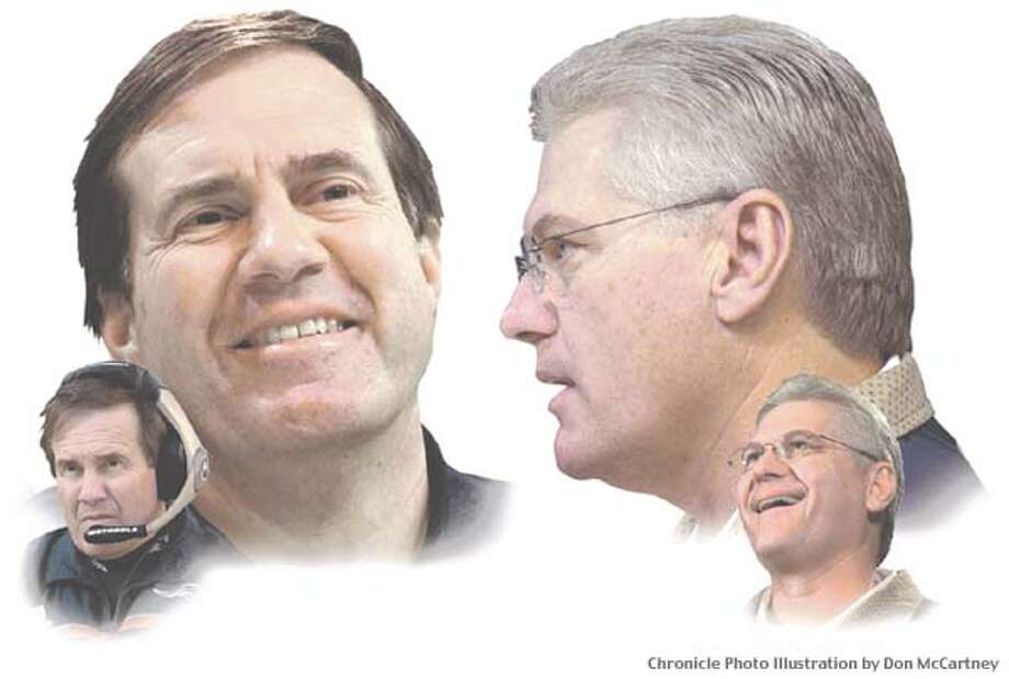 Patriots coach Bill Belichick, left, and Rams coach Mike Martz have had to weigh their success on the field against their lack of popularity among players and fans. Chronicle photo illustration by Don McCartney