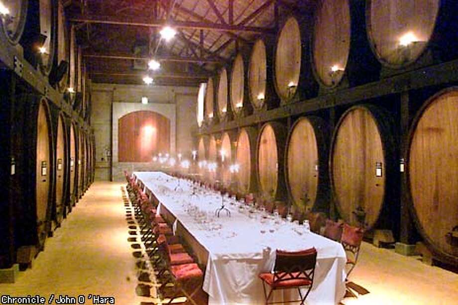 Merryvale Winery 1000 Main st. St. Helena,CA  A banquet, tasting room used in the tasting probram is also used for dinners , meetings ETC. THe barrles on either side of the hall are 2000 gallons each  Photo/John O'Hara Photo: John O'Hara