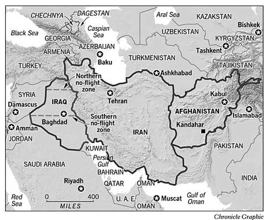 Iran and Iraq. Chronicle Graphic