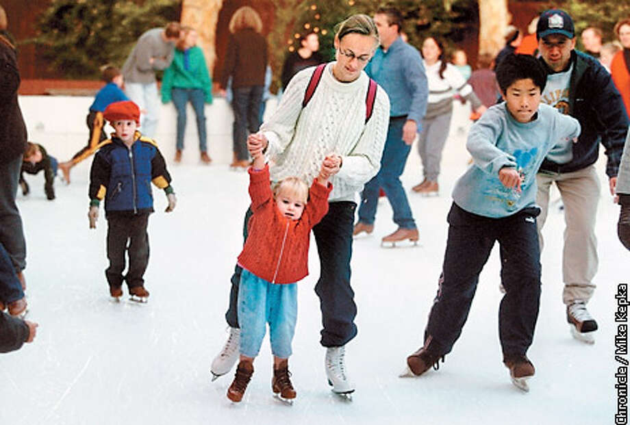 The Winter Lodge in Palo Alto is the only permanent outdoor ice rink in the Bay Area. Chronicle photo by Mike Kepka