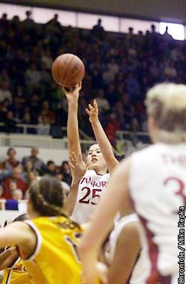 Stanford Cardinal, #25 Lidsey Yamasaki makes one of several 3 pointers against the Arizona State Sun Devils. BY MIKE KEPKA/THE CHRONICLE Photo: MIKE KEPKA
