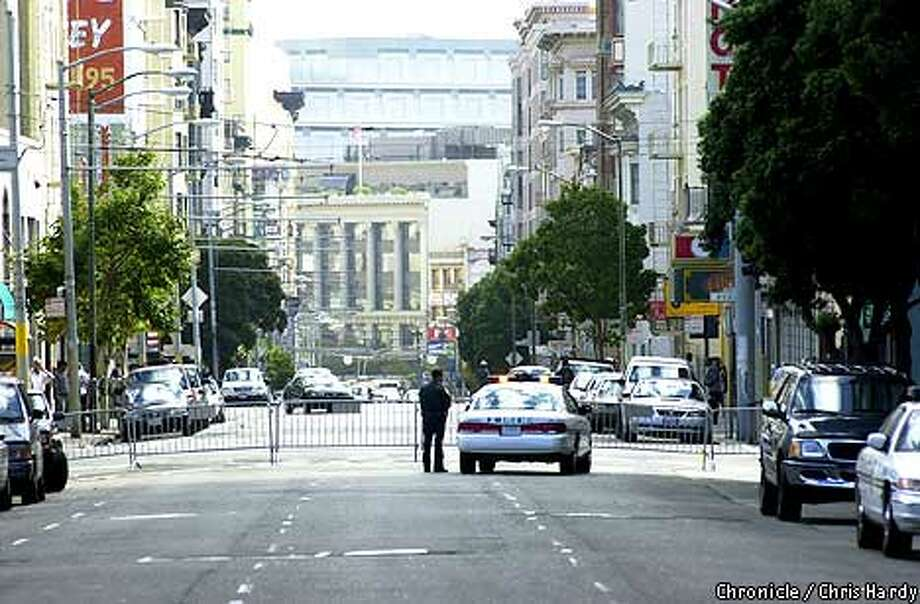 Streets were closed near San Francisco's federal and state buildings and Civic Center following the                      terrorist attacks on the World Trade Center and Pentagon. Chronicle photo by Chris Hardy