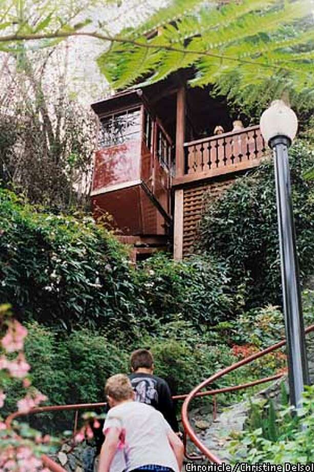 Shadowbrook: Tram carries restaurant patrons down lush hillside. Chronicle photo by Christine Delsol