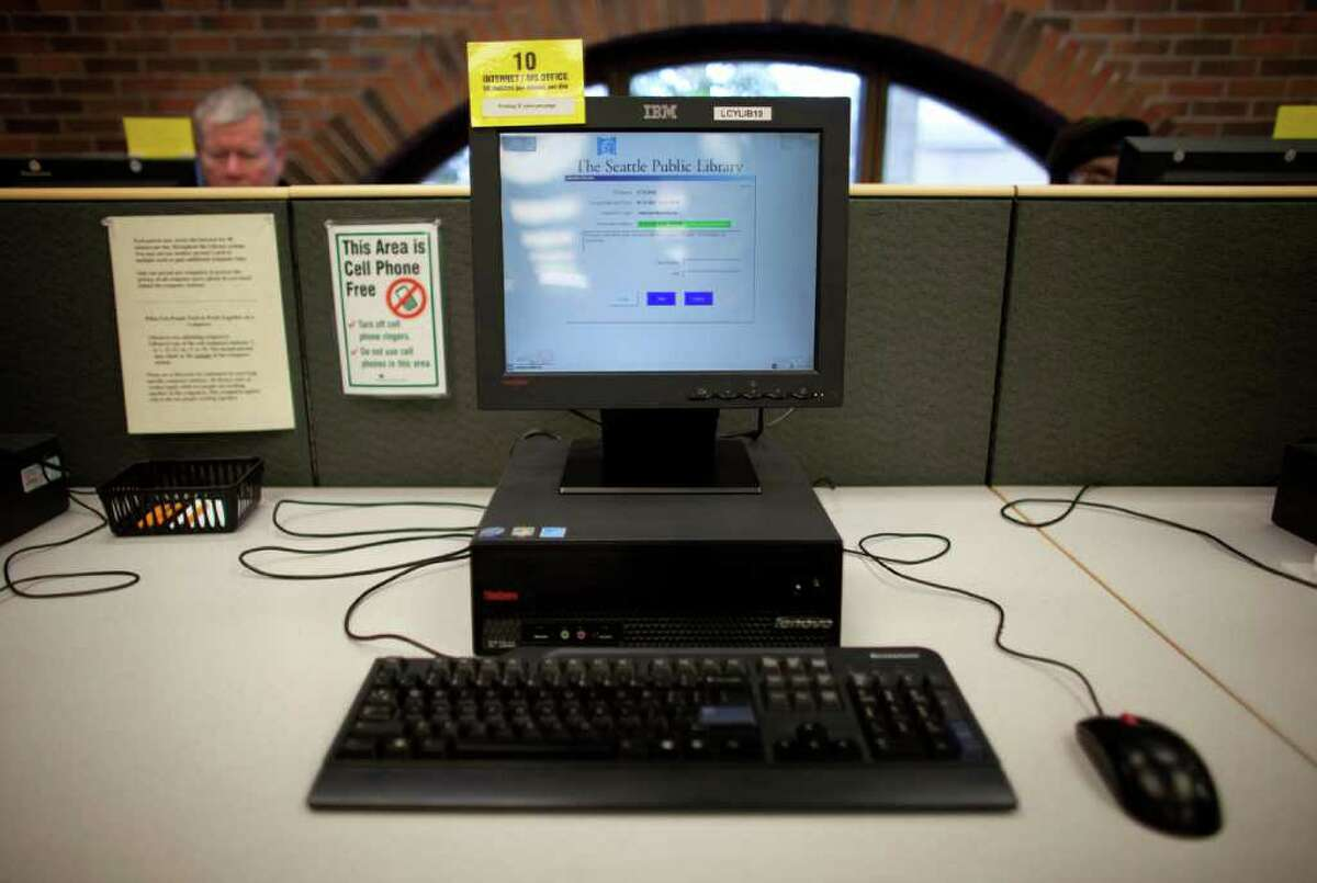 A computer is shown at the Lake City Branch of the Seattle Public Library on Tuesday, January 31, 2012. A patron recently complained after seeing a man openly viewing pornography on the computer. The librarian responded that it was not their responsibility to monitor the computers.