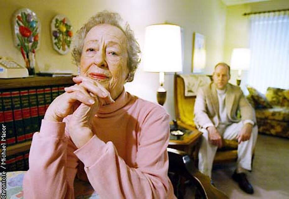 90 year old Thelma Flynn and her son Ashley in the living room of their modest apartment. In a case that show the dearth of senior housing in Contra Costa County, a Pleasant HIll senior housing complex is evicting 90 year old Thelma Flynn from her apartment which she has lived in for the past 21 years. she broke her ankle last summer and had her 55 year old son come in to help her back to health, breaking the apartment rules. by Michael Macor/The Chronicle Photo: MICHAEL MACOR