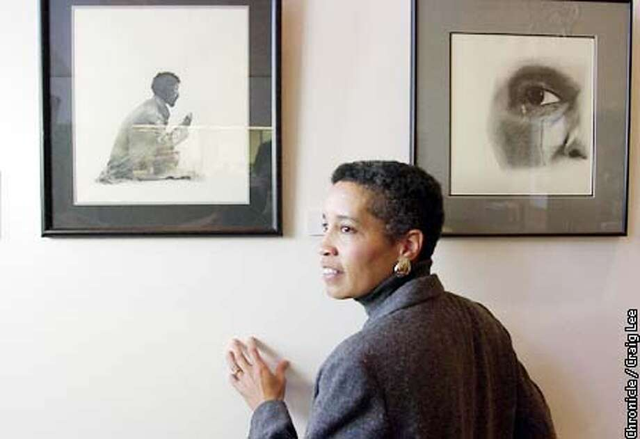 "Photo of LaDoris Cordell next to her charcoal drawings titled ""Homeless, 1997"" (left) and ""For Luci, 2001,"" which is her tribute to Luci Houston, San Jose Mercury News photographer who was murdered last November 2001.  LaDoris Cordell and her art work on display at Palo Alto City Hall, that includes drawings she did while sitting on the bench. After 19 years as a judge, Santa Clara County's first black, female judge, after she was East Palo Alto's first attorney, after she was the first black female assistant dean of the Stanford Law School, LaDoris Cordell is now Vice Provost for Campus Relations at Stanford. Photo by Craig Lee/San Francisco Chronicle Photo: CRAIG LEE"