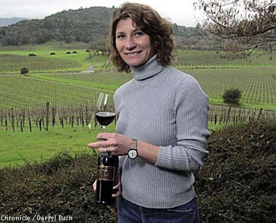 Sarah Gott: Winemaker for Joseph Phelps Vineyards since 2001, Gott enjoys a glass of Phelps Insignia. Chronicle photo by Darryl Bush
