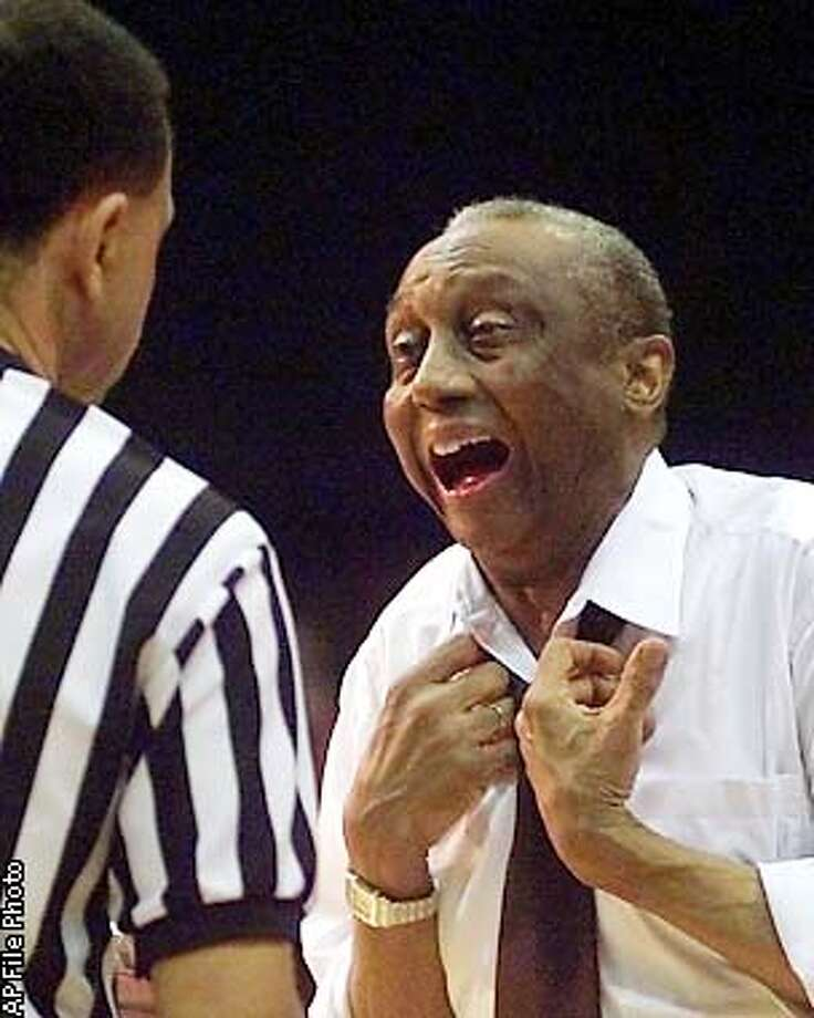 Temple head coach John Chaney argues with an official during the second half against Virginia Tech Thursday, March 9, 2000 during the quarterfinal action of the men's Atlantic 10 Championship in Philadelphia. Temple defeated Virginia Tech 71-52. (AP Photo/Dan Loh). ALSO RAN 1/28/2001 Photo: DAN LOH