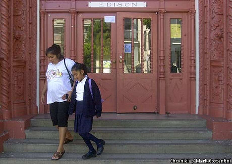 Rosalba Resendiz and her daughter Zitlali left San Francisco's Edison School, where classes were canceled yesterday. Chronicle photo by Mark Costantini