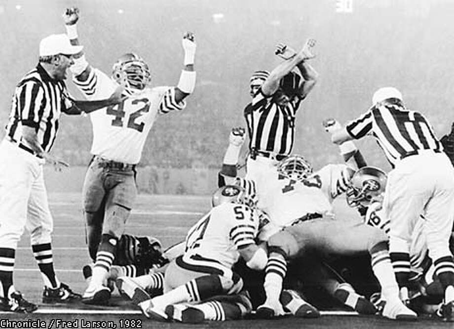 Super Bowl 1982, goal line stand in the 3rd quarter of Super Bowl 1/24/82. Photo by Fred Larson Photo: FRED LARSON