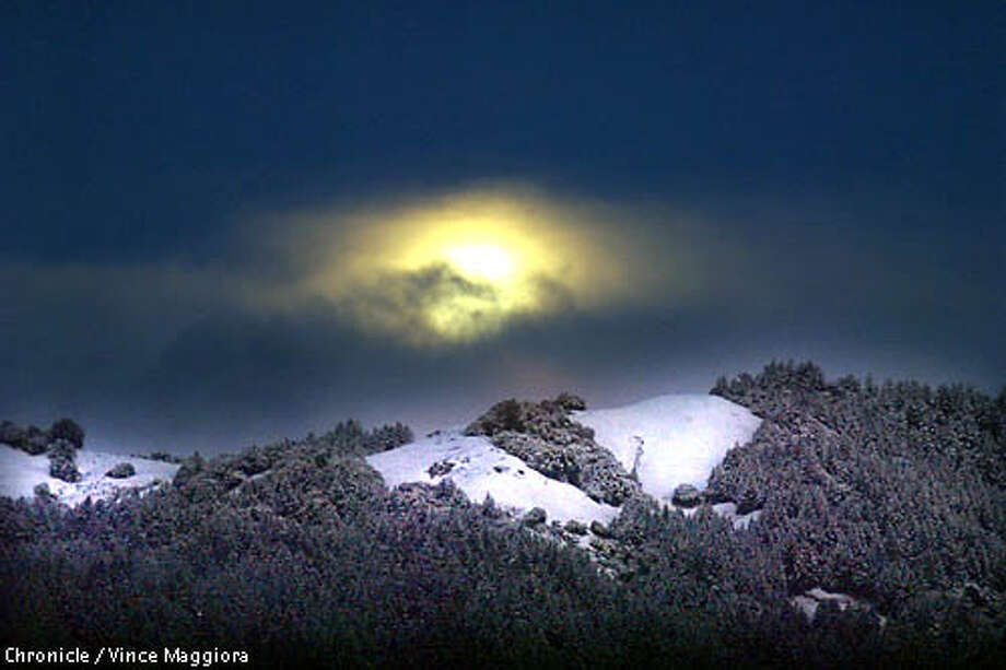 Full moon setting and Snow on Mt. Tam  by Vince Maggiora Photo: VINCE MAGGIORA