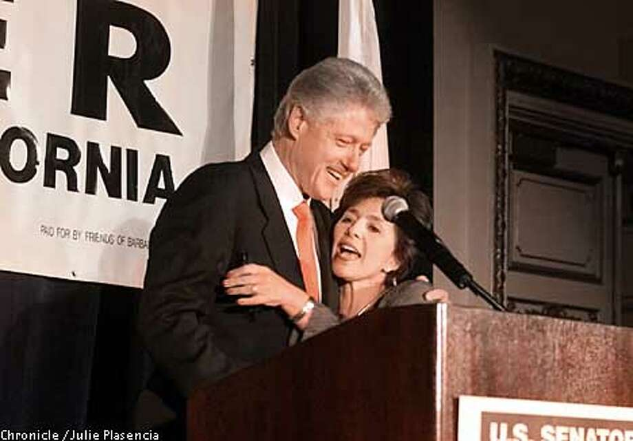 President Bill Clinton embraces Senator Barbara Boxer before speaking at a fundraiser for the Democratic Party and Senator Boxer's campaign kickoff for a third term election at the Fairmont Hotel in San Francisco.  (JULIE PLASENCIA/SFC) Photo: JULIE PLASENCIA