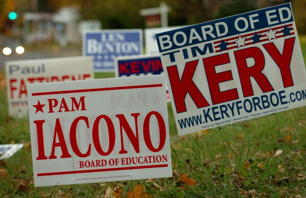 Campaign signs for Republican candidates on Tunxis Hill Road in Fairfield, Conn. on Monday, November 2, 2009.