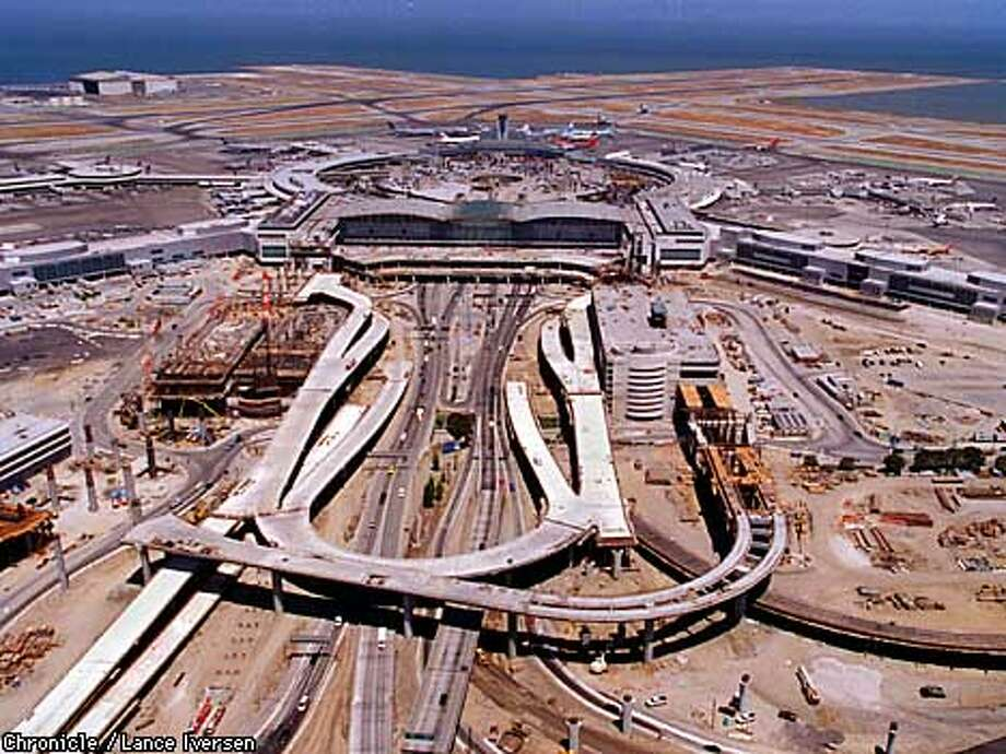 Aerial view of the new rail system and terminal under construction at San Francisco International Airport. By Lance Iversen/San Francisco Chronicle Photo: LANCE IVERSEN