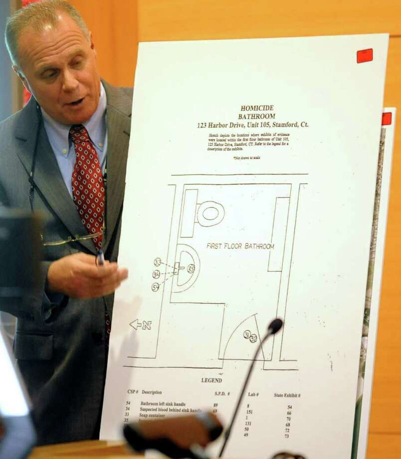 James Bernardi, Supervisory Assistant States Attorney, points to a diagram of a bathroom during the trial of Sheila Davalloo in State Superior Court in Stamford on Tuesday, January 31, 2012. Davalloo is on trial for the 2002 murder of Anna Lisa Raymundo. Photo: Lindsay Niegelberg / Stamford Advocate