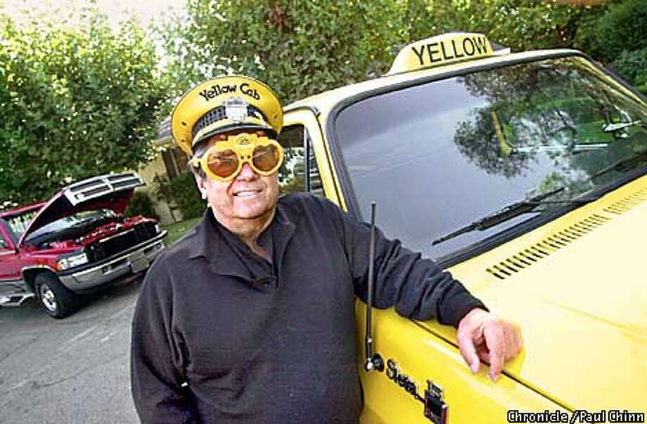 Retired jeweler Russell Craig keeps a collection of unique cars at his Walnut Creek home including a yellow pick-up modified to resemble a taxi (right) and a bright red Dodge pick-up he drives for long road trips (left).  PAUL CHINN/S.F. CHRONICLE Photo: PAUL CHINN