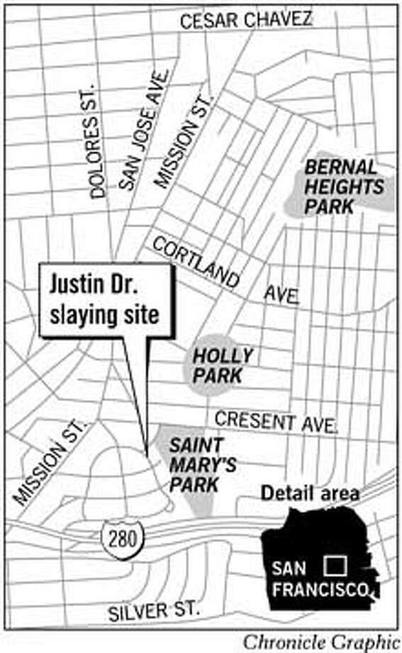 Justin Dr. Slaying Site. Chronicle Graphic