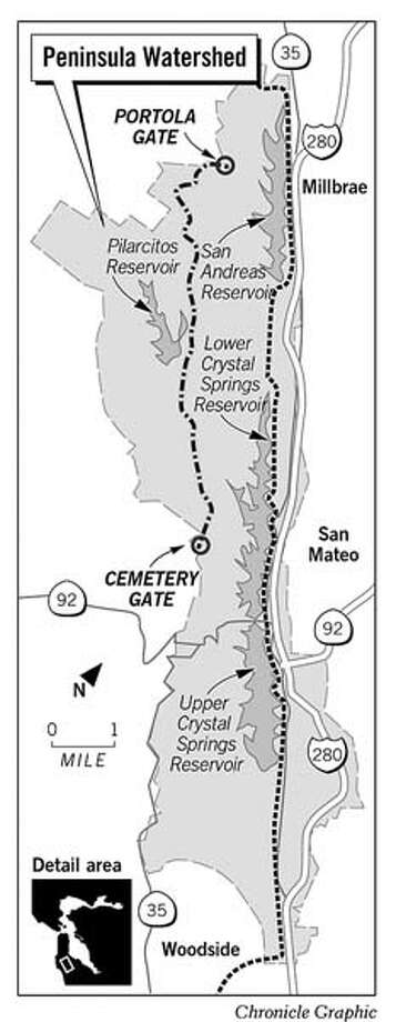 Crystal Springs Watershed. Chronicle Graphic