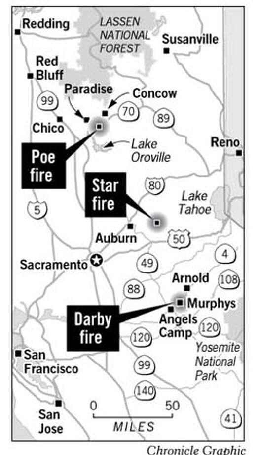 Wildfires Threaten Sierra Nevada Towns. Chronicle Graphic