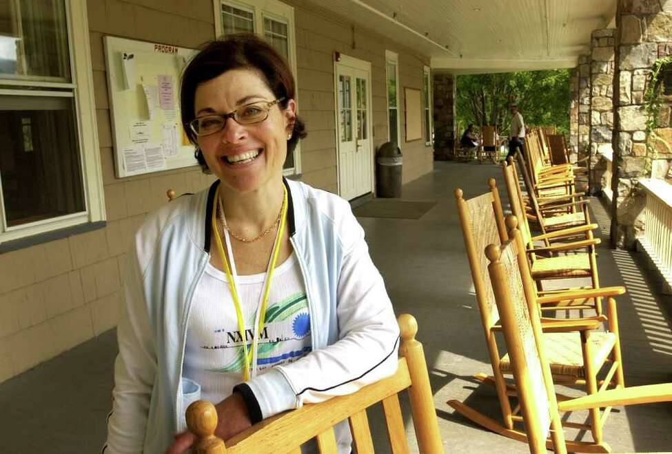 Nancy Salzman, NXIVM's president, poses for a photo during Vanguard week at Silver Bay Center on Lake George, Tuesday, Aug. 27, 2003. (Will Waldron / Times Union)