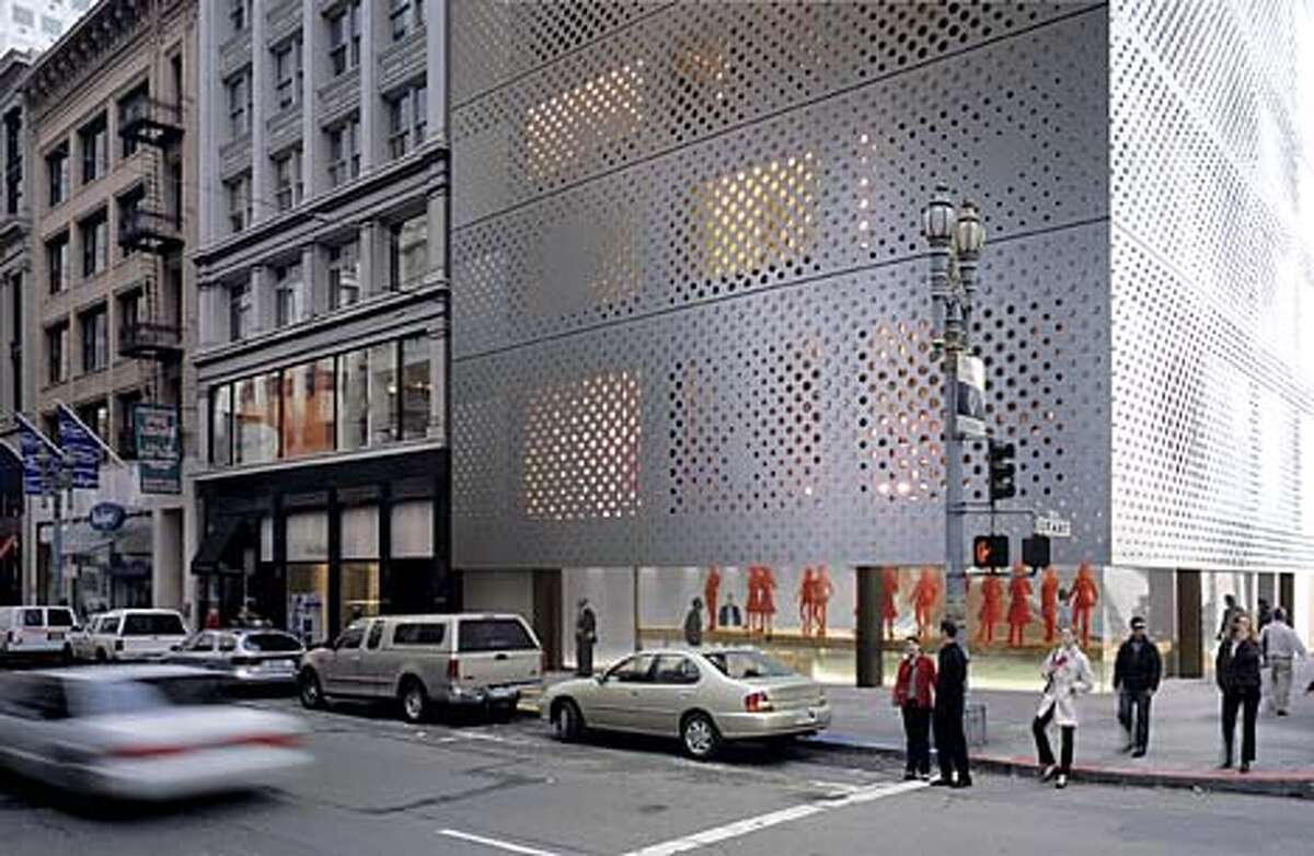computer renditions of the 10-story Prada West Coast Headquarters that would have a stainless steel exterior. architect is Rem Koolhass. Location is the southeast corner of Post St. and Grant Avenue. Handout art ALSO RAN 8/15/2001