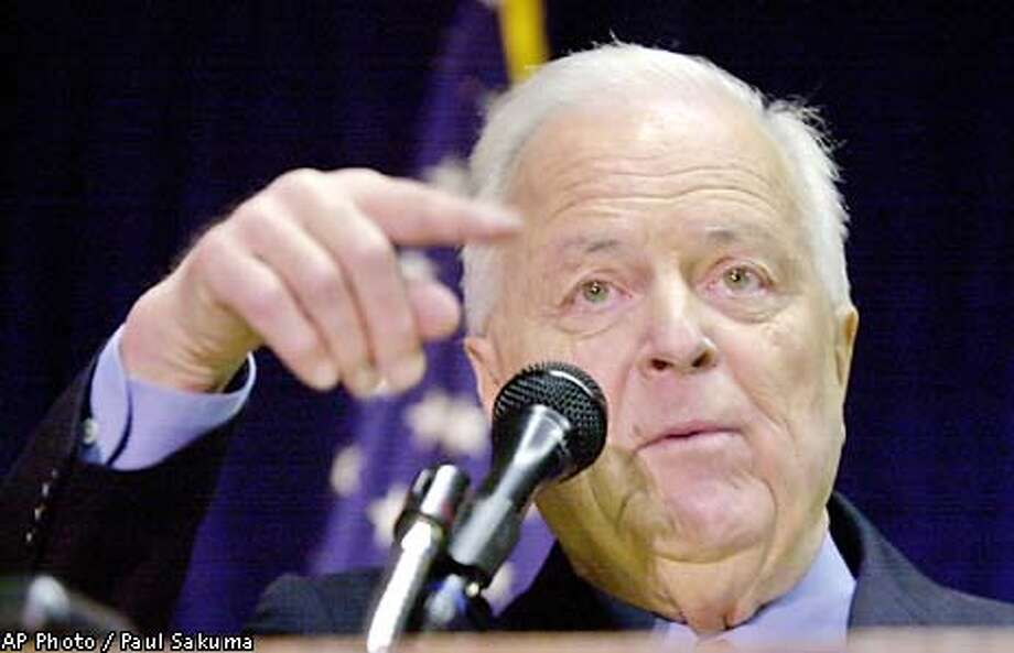 Republican gubernatorial candidate and former Los Angeles Mayor Richard Riordan gestures during a luncheon in San Jose, Calif., Wednesday, Jan. 23, 2002. Riordan debated with fellow GOP candidates Bill Jones and Bill Simon on Tuedsay night in San Jose. (AP Photo/Paul Sakuma) Photo: PAUL SAKUMA