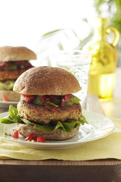 DELISH0201: Good Housekeeping recipe for Tex-Mex Bean Burgers. Photo: Anna Williams