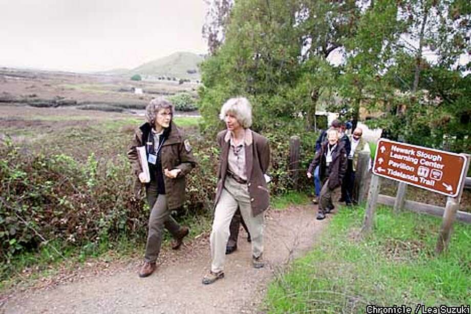 From left: Fran McTamaney, Enviornmental Education Coordinator of the Complex and Interior Secretary Gale Norton. Norton tours the Don Edwards San Francisco Bay Wildlife Refuge at Number 1, Marshlands Road in Fremont and is expected to announce funding increase for the national wildlife refuge system.  Photo by Lea Suzuki/SAN FRANCISCO CHRONICLE Photo: LEA SUZUKI