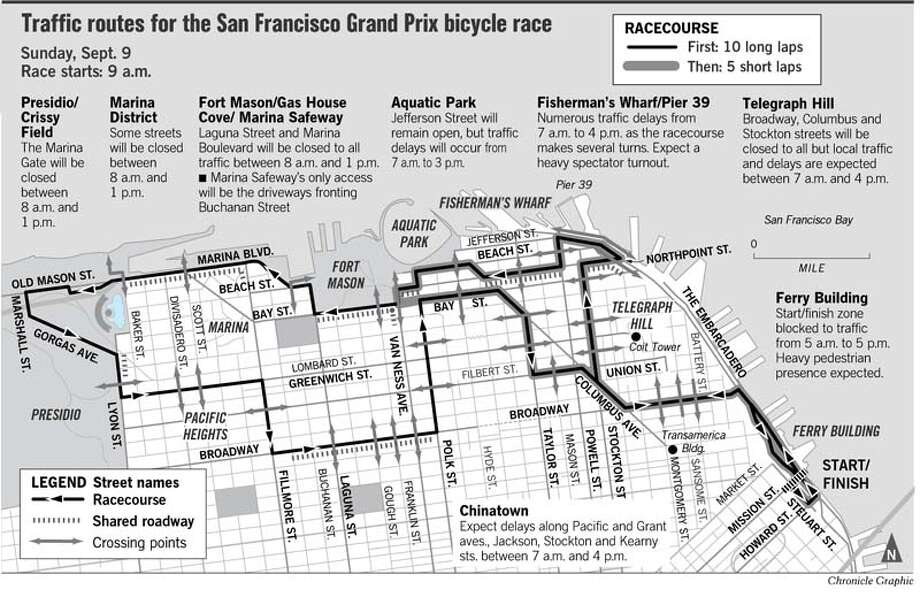 Traffic Routes for the Grand Prix Event. Chronicle Graphic