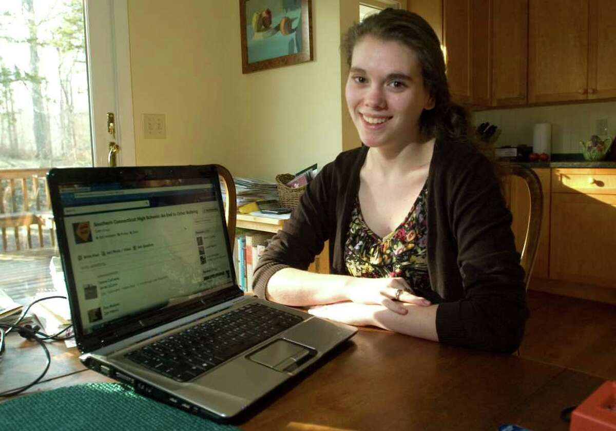 Sophie Needleman, 18, in her home in Ridgefield on Tuesday, Jan. 31, 2012. Needleman, along with two others at Ridgefield High School, have started an anti-bullying campaign through different mediums including Facebook, where they started a page titled,
