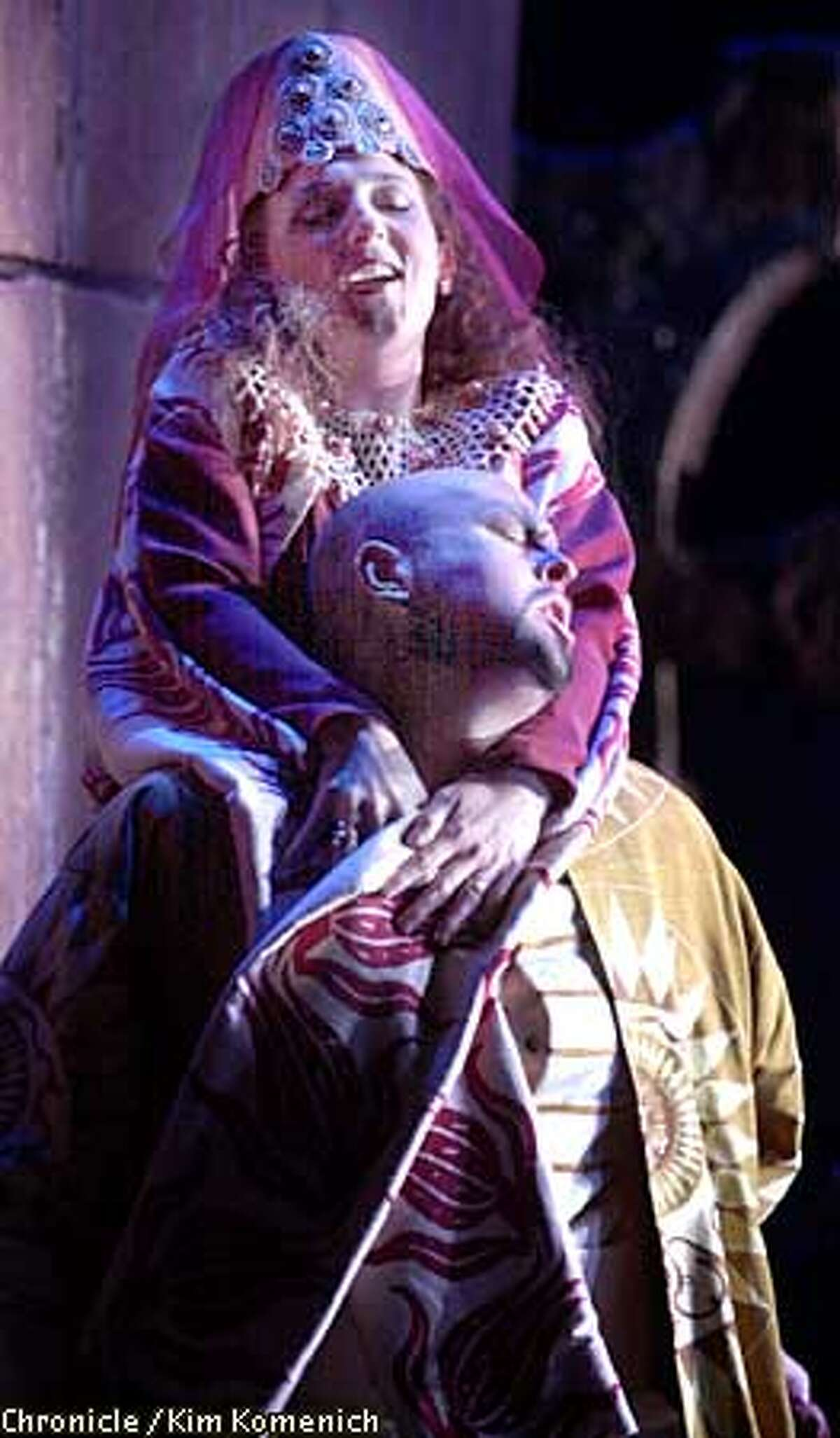 """SF Opera gives the world premiere of """"Arshak II"""" by Tigran Chukhudian. Christopher Robertson as Arsace, and Nora Gubisch as Paransema, CHRONICLE PHOTO BY KIM KOMENICH"""