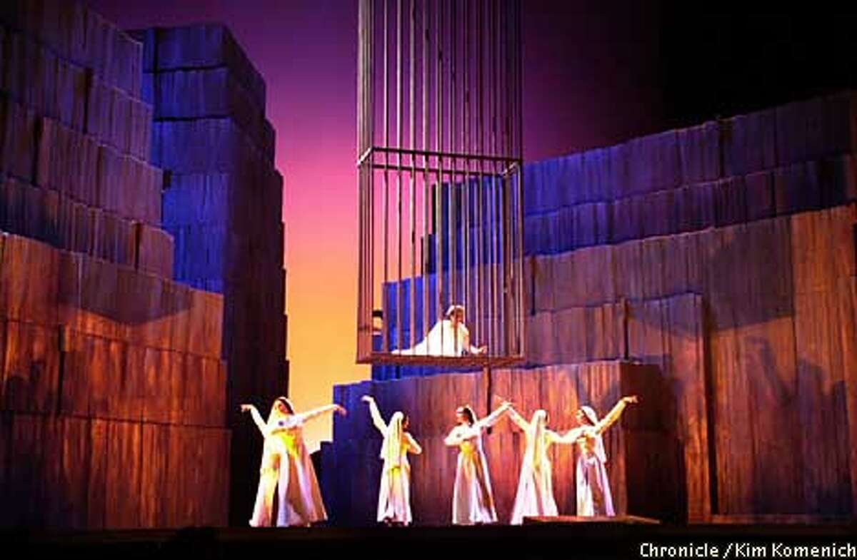 """SF Opera gives the world premiere of """"Arshak II"""" by Tigran Chukhudian. Here, Olimpia (Hasmik Papian) imprisoned in a tower, is serenaded by dancers CHRONICLE PHOTO BY KIM KOMENICH"""