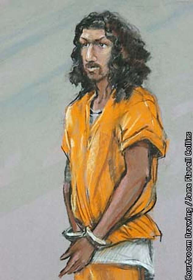 "Richard C. Reid, a 28-year-old British citizen, appears in U.S. District Court in Boston, Friday, Jan. 18, 2002 in a detail of a courtroom drawing. Reid pleaded ""Not guilty"" to eight charges, including the attempted murder of 197 passengers and crewmembers aboard American Airlines Flight 63 on Dec. 22, 2001. (AP Photo/Courtroom Drawing by Jane Flavell Collins) Photo: JANE FLAVELL COLLINS"