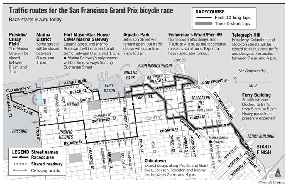 Traffic Routes for the San Francisco Gran Prix Bicycle Race. Chronicle Graphic
