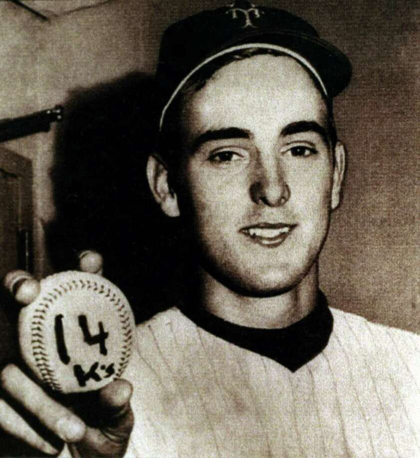 This photo of Nolan Ryan holding the baseball  when he set the Mets team record with 14 strikeouts against the Reds in 1968 is among the items that will be on display at the Texas Sports Hall of Fame in Waco beginning March 21.Click through the gallery to see more photos from the Nolan Ryan Museum. Photo: Kerwin Plevka, Houston Chronicle / Houston Chronicle
