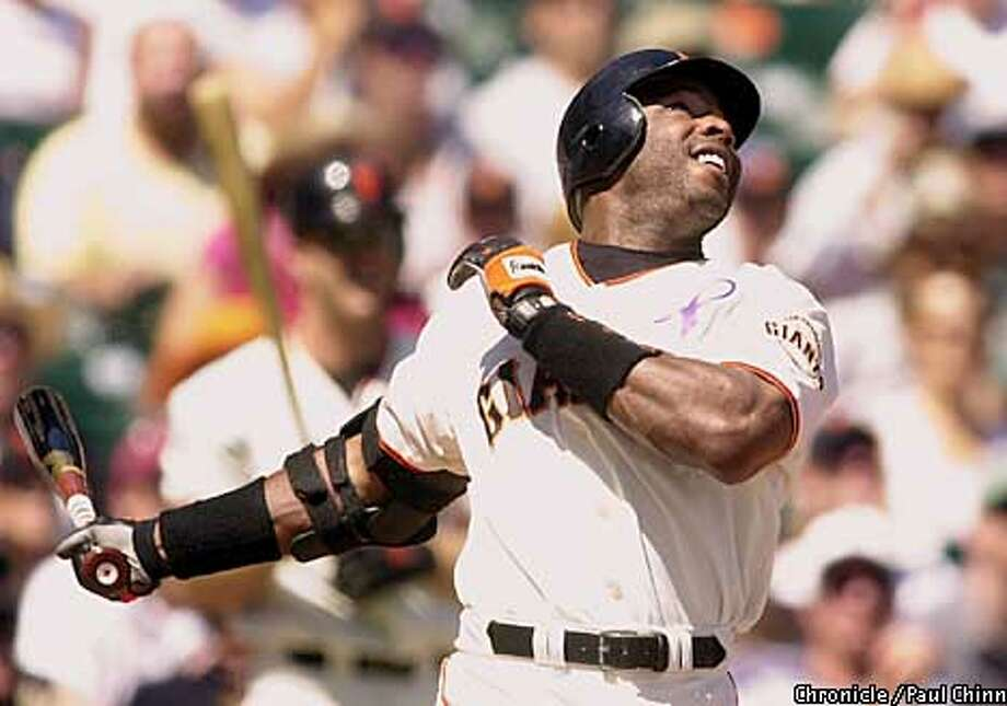 Barry Bonds looked skyward as he batted in the first inning against the Colorado Rockies. He later hit his 58th homer of the season in the 4th inning .  PAUL CHINN/S.F. CHRONICLE Photo: PAUL CHINN