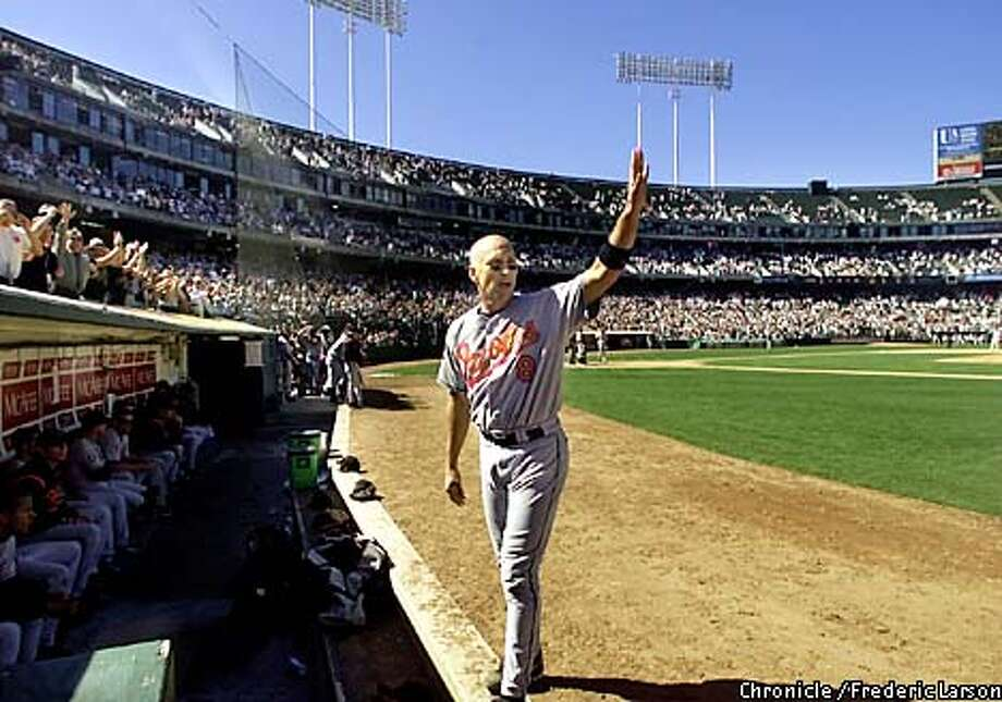 : After Cal Repken Jr. last bat he acknowledged the crowd and took his last wave to Oakland on his retirement year from baseball. At the Network Coliseum before the game the A's honored Cal Ripken Jr. last game in Oakland. Chronicle photo by Frederic Larson Photo: FREDERIC LARSON
