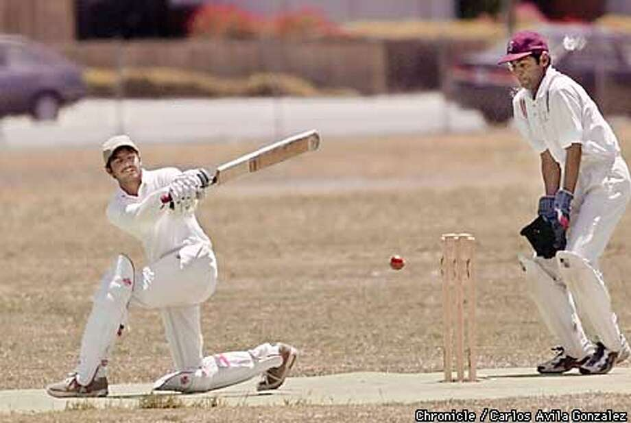 Batsman Praveen of the Davis crickett team swings and misses during the match between Stanford and Davis at Blackford High School in San Jose, Ca., on Sunday, June 24, 2001. (Photo by Carlos Avila Gonzalez/The San Francisco Chronicle) Photo: CARLOS AVILA GONZALEZ