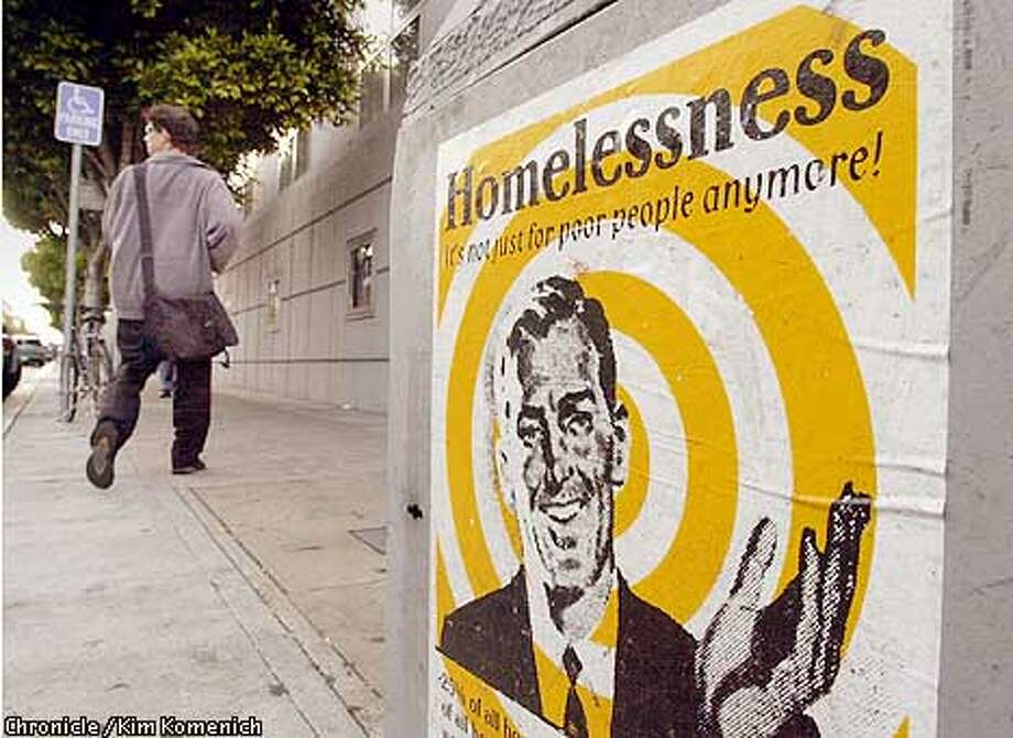 Homeless education posters around Civic center hope to educate the public about San Francico's 15,000 homeless people.  CHRONICLE PHOTO BY KIM KOMENICH Photo: Kim Komenich