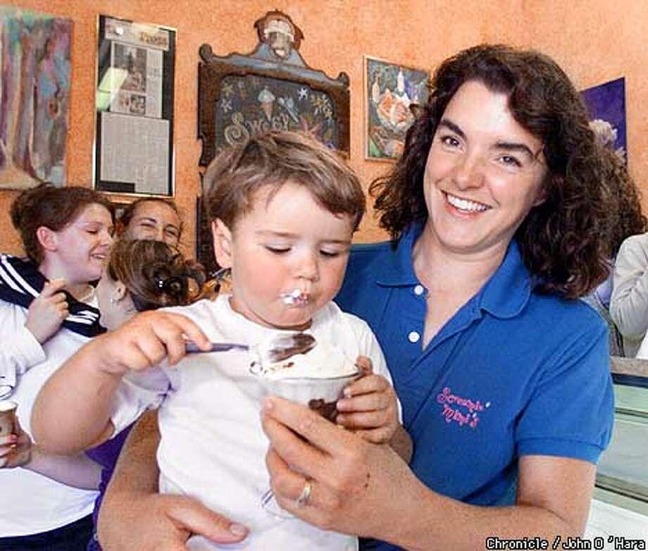 Mimi's Ice Cream, Sebastopol,CA  Maraline Olson, son Carter 2 1/2 SKY BOX PHOTO Photo/John O'Hara Photo: John O'Hara