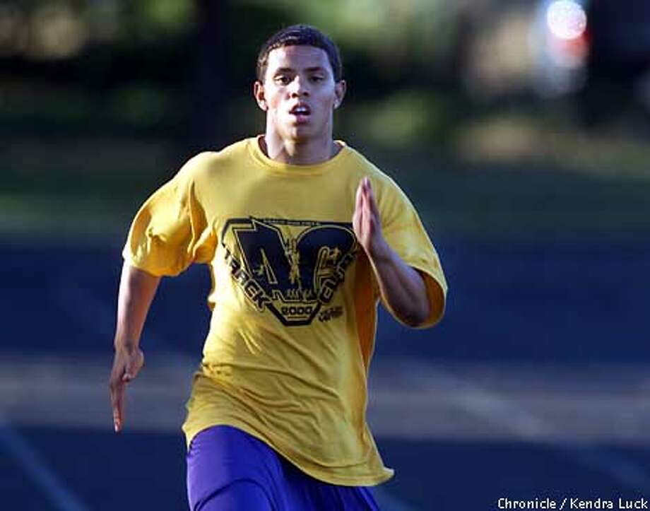 Jeremy Konaris, 16, of San Francisco works out during practice of the Alameda Contra Costa Track Club at the College of Alameda. The elite track team is made up of kids from all over the Bay Area, even beyond Alameda and Contra Costa to include San Francisco and San Jose.  (KENDRA LUCK/SAN FRANCISCO CHRONICLE) Photo: KENDRA LUCK