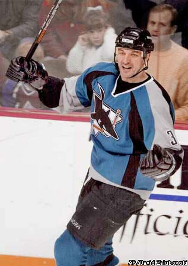 San Jose Sharks left winger Stephane Matteau celebrates after scoring a goal in the third period of the Sharks' 2-2 overtime tie with the Colorado Avalanche, Thursday, Jan. 4, 2001, in Denver. (AP Photo/David Zalubowski) Photo: DAVID ZALUBOWSKI