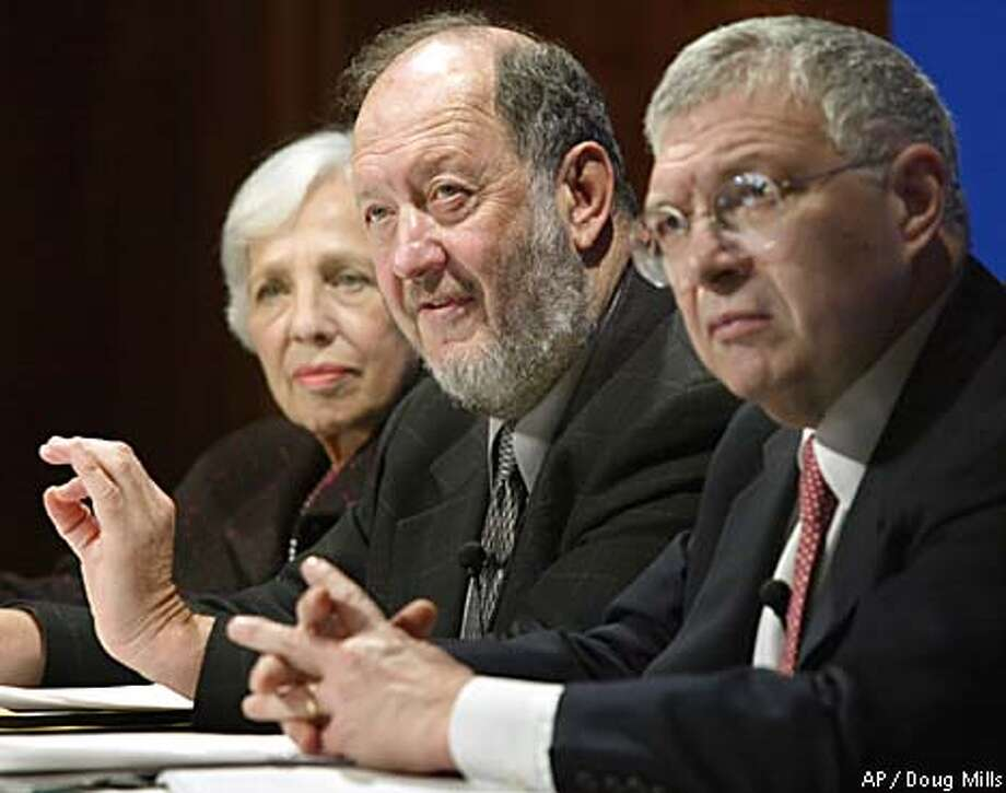 """Human reproductive cloning should not be prac- ticed,"" said Stanford's Irving Weissman, center. Associated Press photo by Doug Mills"