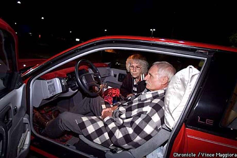 Joan and Charles Johnson evacuate their home and spent yhe night in their car in a parking lot in Weaverville. The Oregon fire in Weaverville, Trinity County destroyed homes and mass evacuations .  by Vince Maggiora Photo: VINCE MAGGIORA
