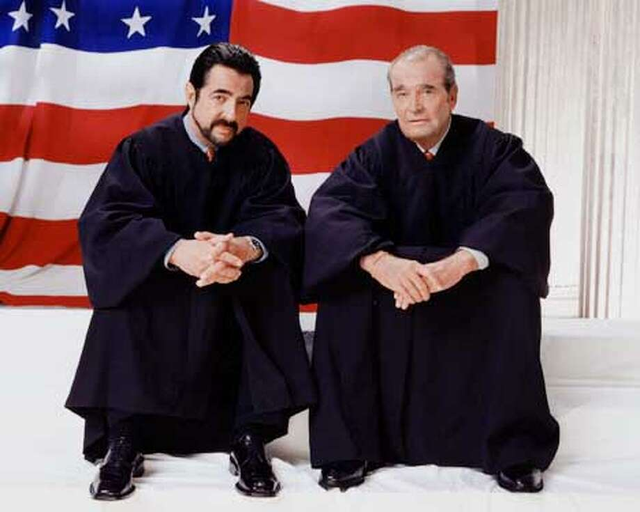 James Garner (right) and Joe Mantegna star in FIRST MONDAY. This photo is provided for use in conjunction with the CBS Winter 2002 Press Tour being held in Pasadena CA Photo: CLIFF LIPSON