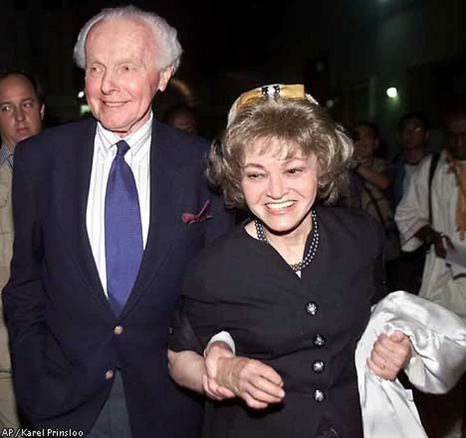 U.S. Rep. Tom Lantos and his wife Annette, right, leave the press center at the UN Racism Conference in Durban Monday Sept. 3 2001, after it was announced that the United States had pulled out of the conference. (AP Photo/Karel Prinsloo) Photo: KAREL PRINSLOO