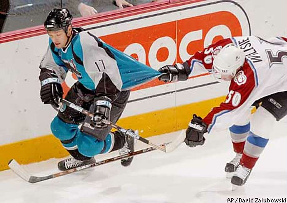 San Jose Sharks left winger Scott Thornton, left, has his sweater pulled by Colorado Avalanche right winger Brian Willsie as they pursue the puck in the first period in Denver on Tuesday, Jan. 15, 2002. (AP Photo/David Zalubowski) Photo: DAVID ZALUBOWSKI