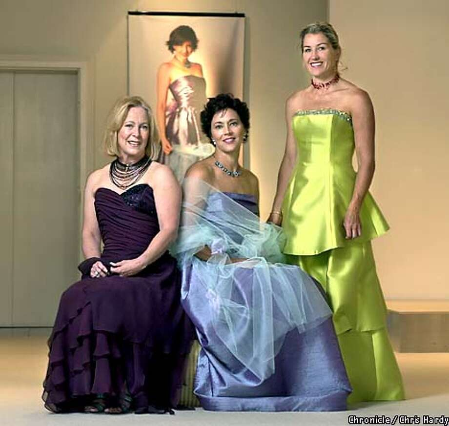 PREVIEW OF GOWNS TO BE WORN AT VARIOUS SOCIAL EVENTS THIS SEASON. WITH DIANE SCHAFFER IN PORT COLORED DRESS, KARIN ELDER SHOLL IN THE LAVENDER DRESS, SUMMER TOMKINS WALKER IN GREEN -----CHRONICLE PHOTO BY CHRIS HARDY Photo: Chris Hardy